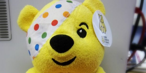 Pudsey bear the mascot of children in need at scott rees