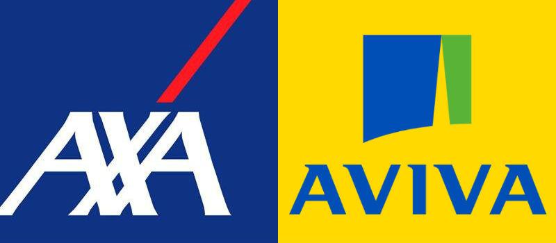 Logos of AXA and Aviva insurance