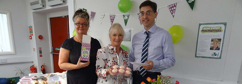 Gail Pugh, Bre Swift and Tim Allen of Scott Rees & Co for Macmillan Coffee Morning 2017