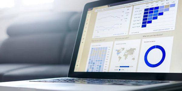 Laptop with google analytics