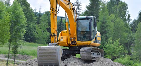 Excavator on construction work site