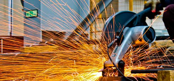 Sparks flying from cutter at work