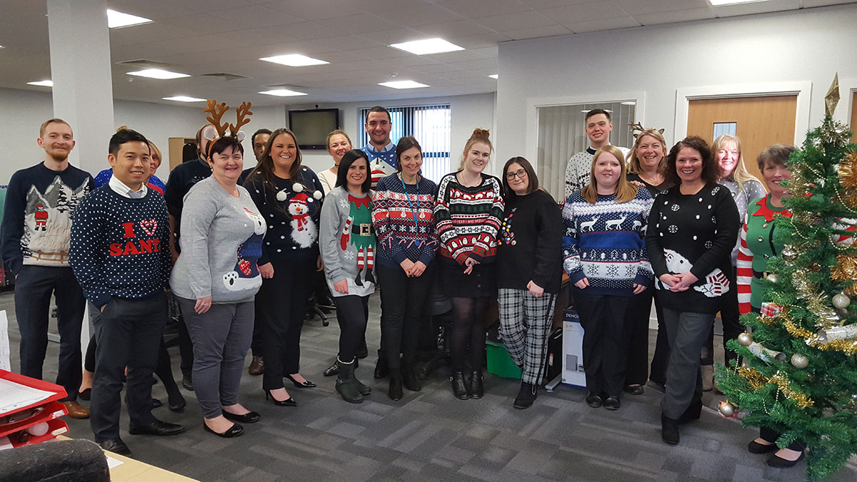 Scott Rees participating in Christmas Jumper Day 2018