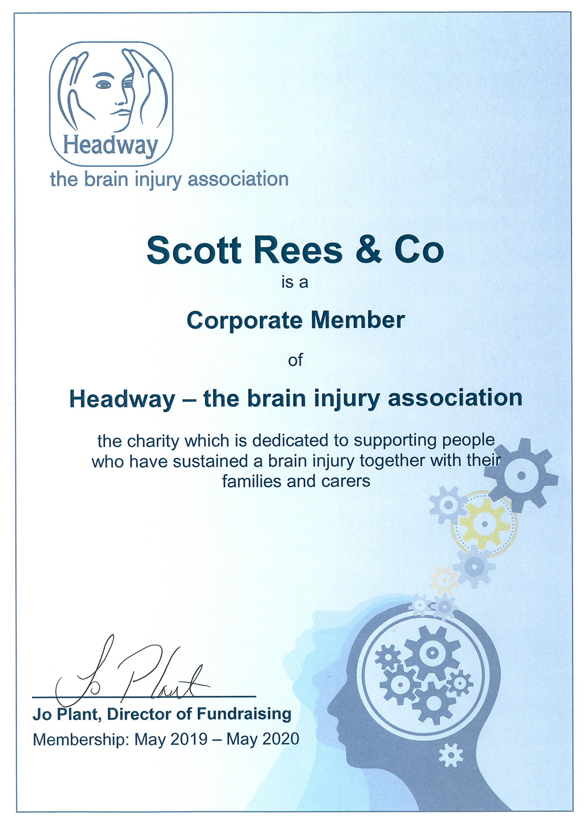 Headway certificate for Scott Rees & Co