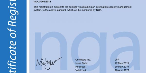 NQA Certification of Registration