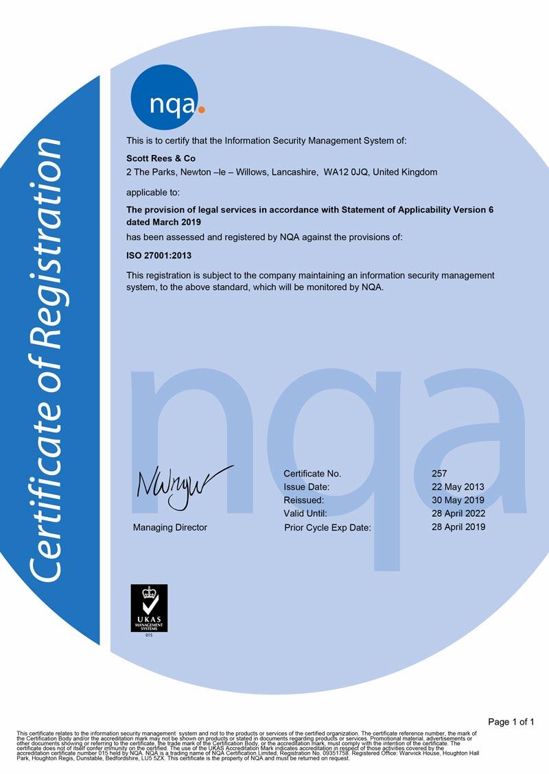 NQA Certification of Registration