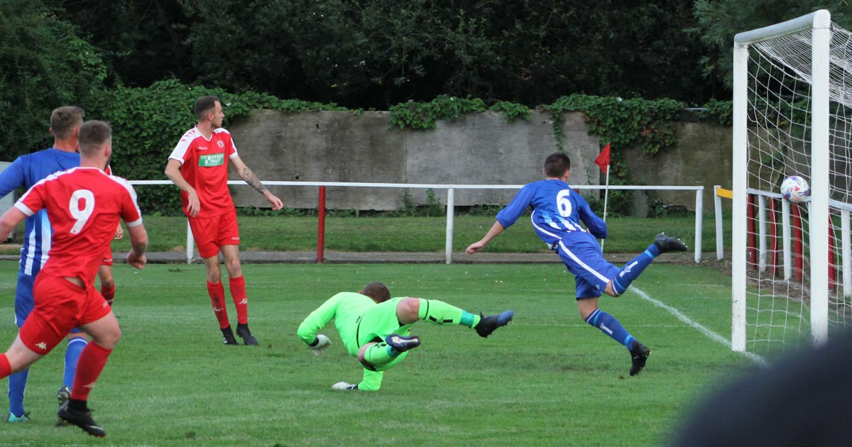 Ashton Town AFC scoring a goal against Daisy Hill in 2019