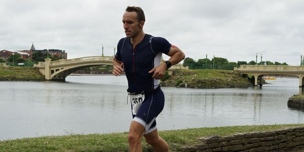 Chris Connor running in Southport triathlon