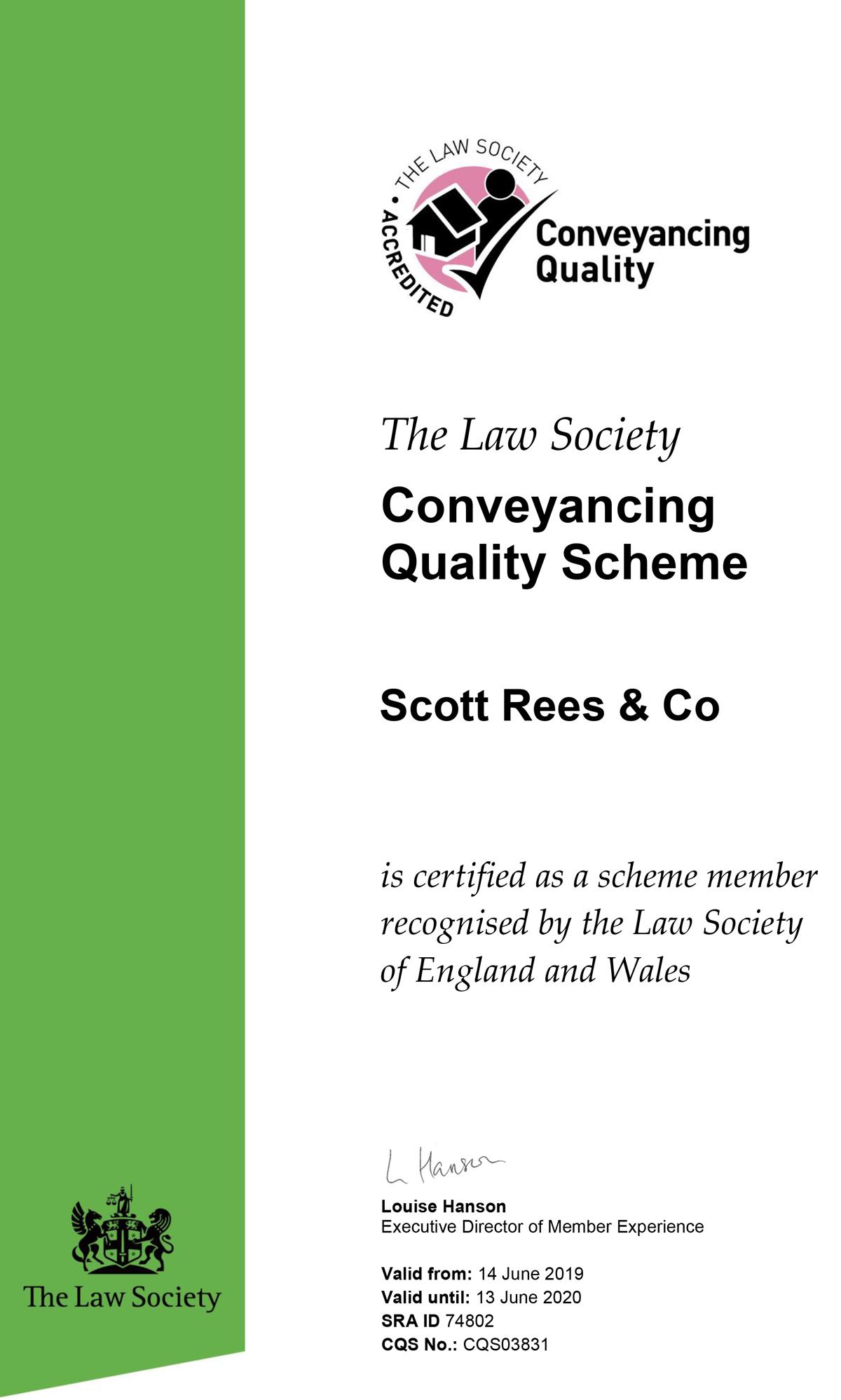 CQS certificate Scott Rees 2019