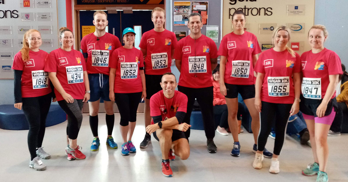 Scott Rees & Co before running the Wigan 10k 2019 for the Wigan Youth Zone