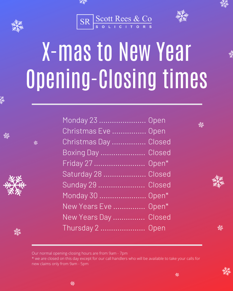 Xmas 2019 opening-closing times at Scott Rees & Co solicitors