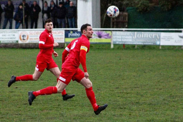 Anthony Potts playing for Ashton Town AFC