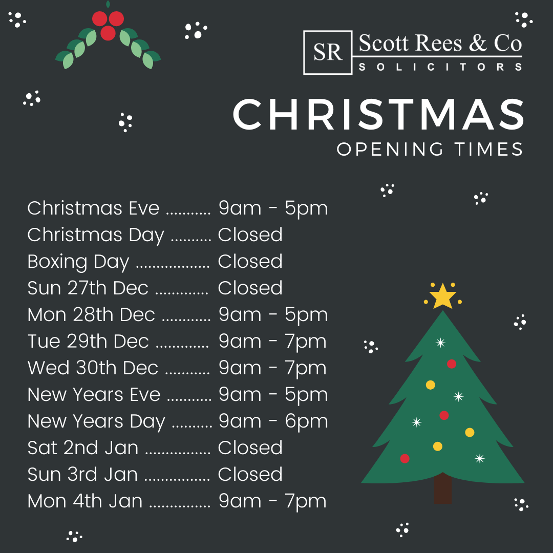 Scott Rees & Co opening and closing times Christmas 2020