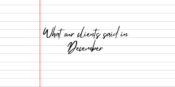 What our clients said in December 2020